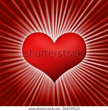 Valentine's Day background with heart on background rays