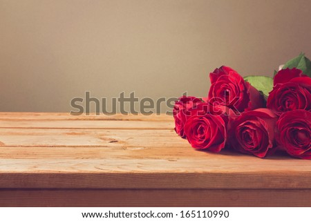 Valentine's day background with red roses - stock photo