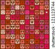 Valentine's Day Background with Rows of Color Hearts, Raster Version - stock photo