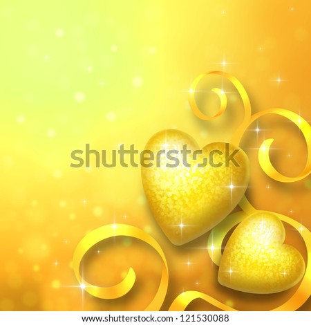 Valentine's day background with two golden hearts in the foreground - stock photo