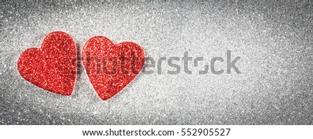Valentine's day banner, hearts on silver background