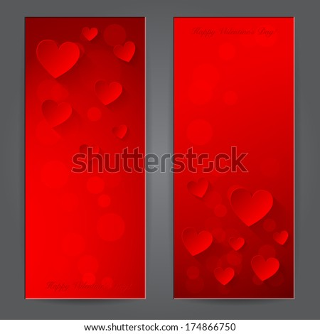 Valentine's day banner with paper hearts. - stock photo