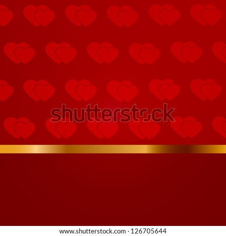 Valentine's day blank with pattern of hearts and gold line. Raster version of the loaded vector.