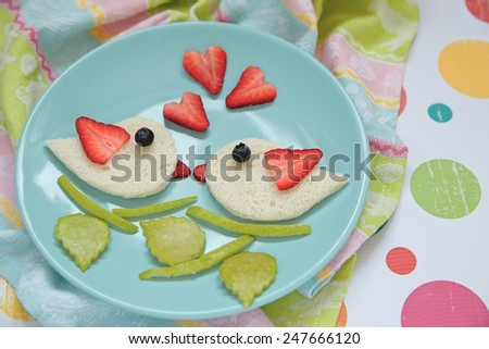 Valentine's day breakfast with a fresh berries - stock photo