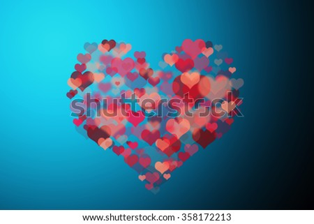 Valentine`s Day Card. Love concept. Abstract image of lighting flare. red heart lights on blue