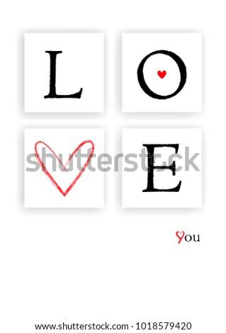 Valentines Day Card Love Word Frames Stock Illustration 1018579420 ...