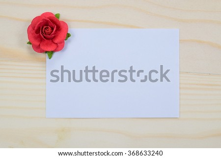 Valentine's day card on wooden table. for input your text here. - stock photo