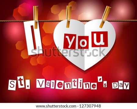 Valentine`s day card. Paper heart hanging on clothespins. Raster version. - stock photo