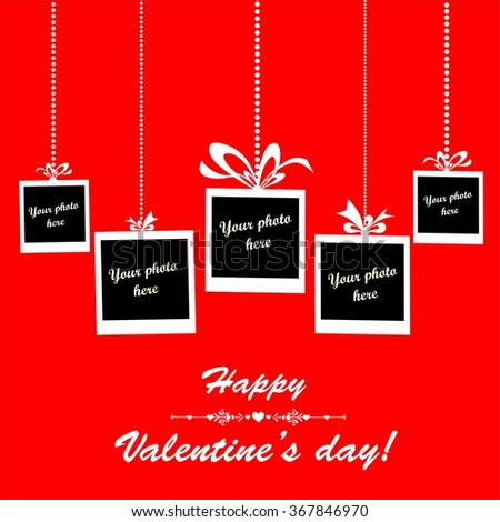 Valentine's day card. Red Celebration background with Photo frame and place for your text. Illustration  - stock photo