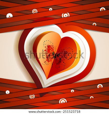 Valentine's day card with hearts and butterfly - stock photo