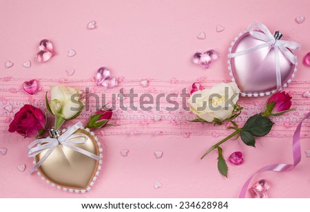 Valentine's day card  with hearts and flowers on the pink background - stock photo