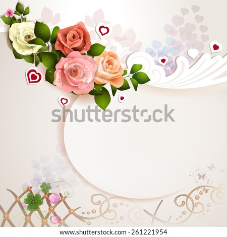 Valentine's day card with roses, hearts - stock photo