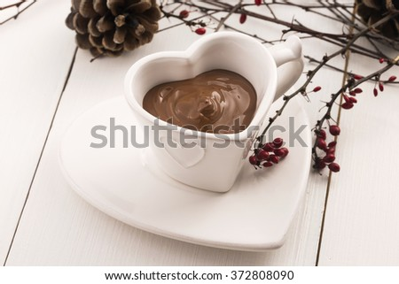 Valentine's day celebration with hot chocolate