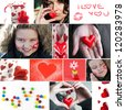 Valentine`s day collage. Heart, candies, flower, lips, beautiful woman and lovely boy. - stock photo