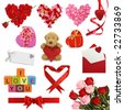 Valentine's day collection isolated on white background - stock photo