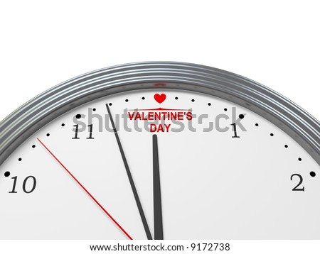 Valentine's day coming. Abstract clock. 3d image.