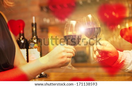 Valentine's Day concept couple having dinner and drinking wine