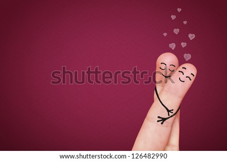 Valentine's day concept. Happy fingers in love. - stock photo