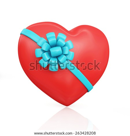 Valentine's Day concept. Shiny big red heart with blue ribbon and bow isolated on white reflective background - stock photo