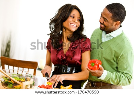 Valentine's Day: Couple Making Dinner Together.