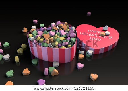 Valentine's day heart shaped candy box (3D render)