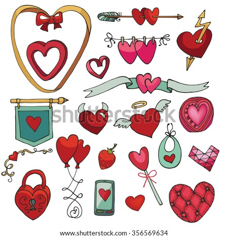 Valentine's day hearts decorative icons big set.For wedding,love,romantic card,Valentine template.Flat element collection.Vintage Cute Doodle hand drawing decor .Illustration set.Retro style.Red heart