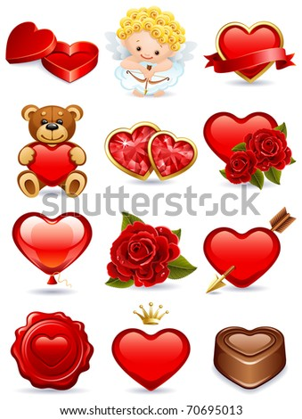 valentine's day icon set - raster version - stock photo