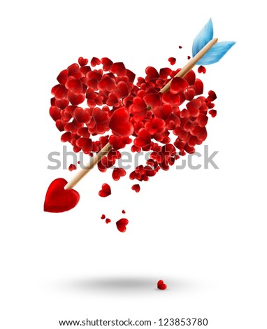 Valentine's day illustration with arrow and hearts - stock photo
