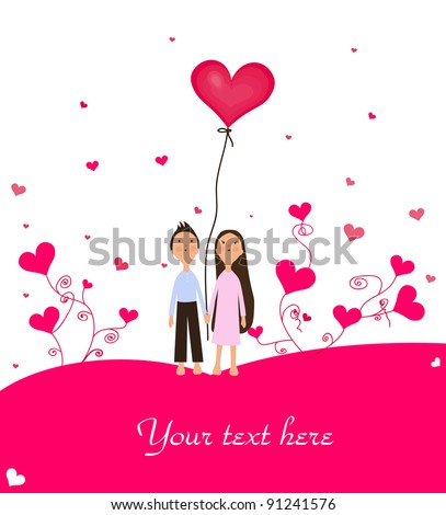 Valentine's Day Illustration with cute little girl, boy and hearts.