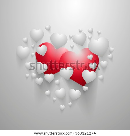 Valentine's Day illustration with hearts with long shadows on gray background. - stock photo