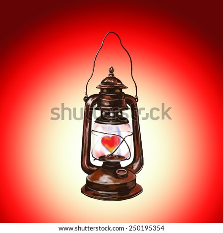 Valentine's day lantern with heart