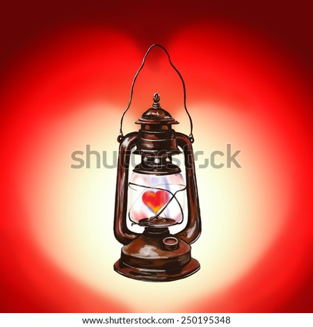 Valentine's day lantern with heart, the light in the shape of a heart