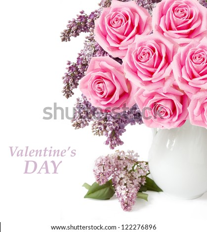 Valentine's Day (lilac flowers and roses bunch in vase isolated on white background with sample text )