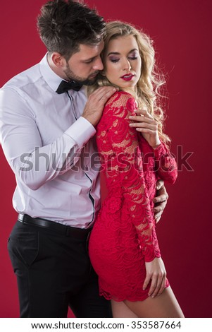 Valentine's Day of handsome man and his attractive woman - stock photo