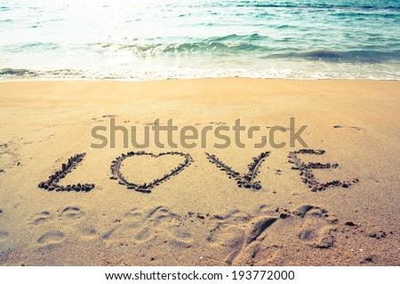 Valentine's Day on the beach - stock photo