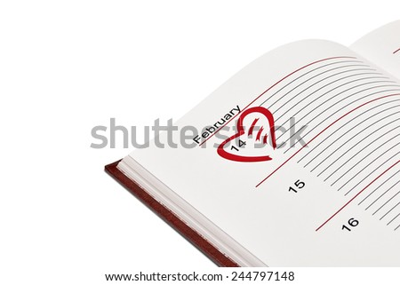 Valentine's Day Organizer with red heart on February 14th - stock photo