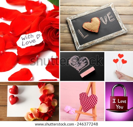 Valentine's Day photo collage - stock photo