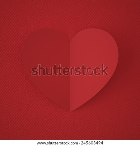 Valentine's Day. Red paper heart on a red background fabric. High Resolution 3d - stock photo