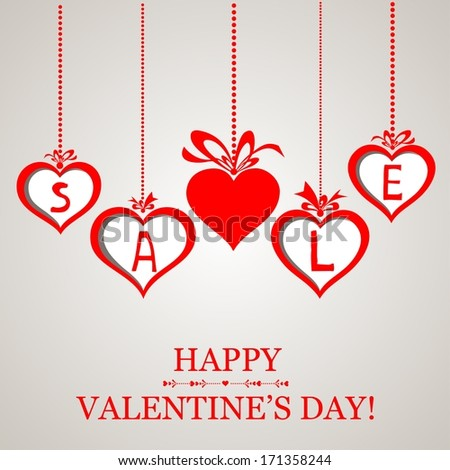 Valentine`s day sale design template. Celebration white background with red heart and place for your text.  illustration  - stock photo