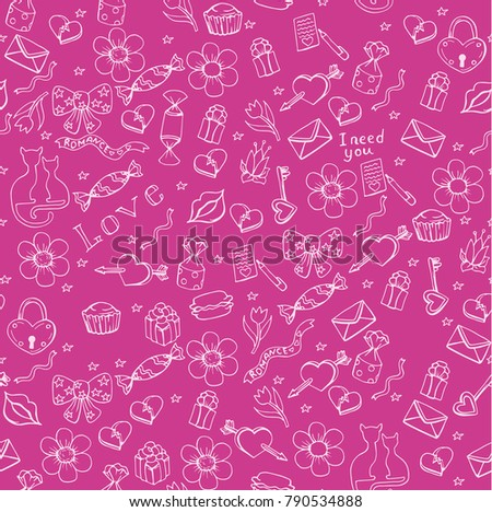 Valentine's day seamless pattern, background for holiday banner of flyer with doodle hand drawn elements, illustration