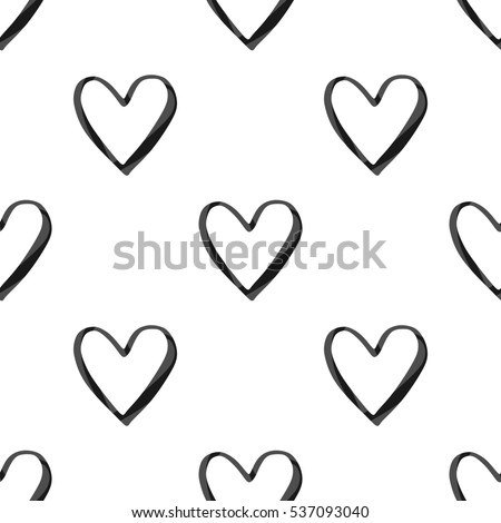 Valentines Day Seamless Pattern Black Watercolor Stock Illustration