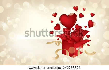 Valentine's Day themed illustration with hearts popping out of a present. - stock photo