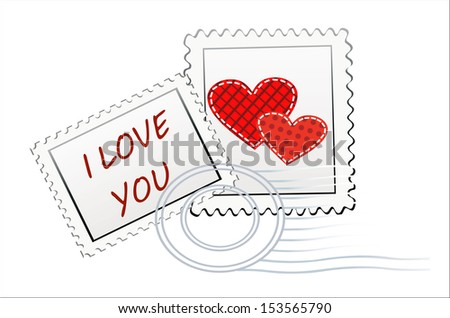 Valentine's Day-themed stamps isolated on white