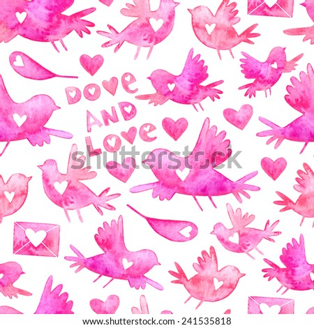 Valentine's day watercolor seamless pattern with birds, envelopes, hearts and feathers silhouettes. Adorable watercolor Valentine's Day seamless pattern. Dove and love lettering. - stock photo
