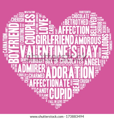 Valentine's Day word cloud concept including terms such as love, romance, kiss, boyfriend, girlfriend, Cupid and others in the shape of a heart, white letters on pink background  - stock photo