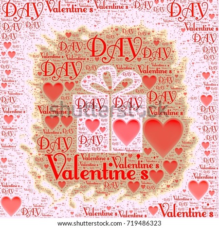 Valentineu0027s Day Words With Gift Box Illustration Image