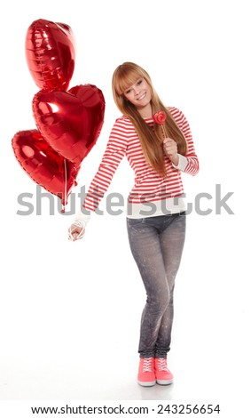 Valentine's girl with balloons - stock photo