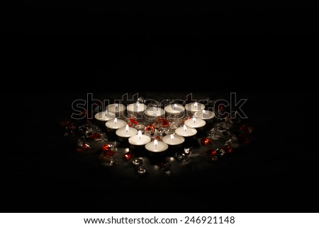 valentine's heart made of candles - stock photo