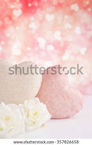 Valentine's hearts and roses with a bright glittering background. - stock photo