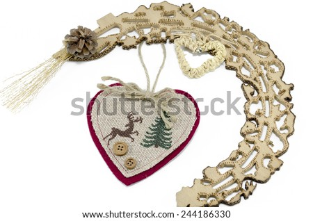 Valentine's hearts and woodwork isolated on white - stock photo